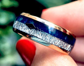 Mens Wedding Bands Blue Agate Meteorite Inlay, Rose Gold, Arrow Inlay Engagement Ring Rose Gold Ring, Tungsten Ring for Women, His and Hers