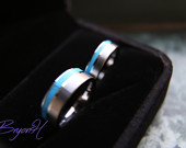 Inlay Turquoise Tungsten Carbide ring, Tungsten wedding bands set, tungsten wedding bands with Inlay Turquoise, promise ring for her him