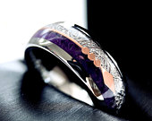 Mens Ring, Wedding Bands, His and Her Promise Rings , Engagement Rings, Meteorite Rings, Rings for Women, Rose Gold Arrow Ring, Purple Ring