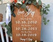 Wood Wedding Sign, Our Love Story Sign, First Day Yes day Best Day Sign, Welcome Wedding Sign, Ceremony Sign