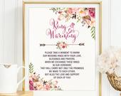 Ring Warming Ceremony Printable Sign. Floral Wedding Decoration. Ring Blessing Printable Download. Ring Exchange Instant Download. FLO7