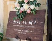 Wedding Welcome Sign Custom Wood Wedding Sign Personalized Ceremony Sign