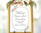 Choose a Seat Sign, Printable Large Wedding Sign, Pick a Seat Wedding Sign, Two Sizes Included, Blush Pink Floral, VW20