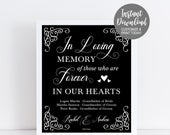 In Loving Memory Wedding Sign, Memorial Sign Table, Remembrance Sign, Signs For Weddings In Memory Of, Custom Wedding Printable Signage3