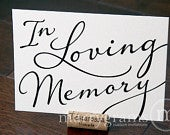 In Loving Memory Sign Table Card Wedding Reception Seating Signage Family Photo Table Sign Matching Numbers Available SS03