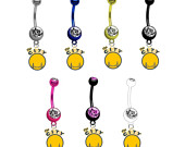 Golden State Warriors Style 2 PREMIUM TITANIUM Anodized w/ Gem Sexy Belly Navel Ring (Pick Your Color)