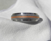 Ring, Titanium with Copper Inlay Stripe, Wedding Band, Unique Ring