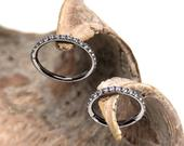 Titanium Hinged Segment Ring with Inlaid Crystal Gems 16g 8mm or 10mm, rook clicker,septum,helic, daith clicker 1.2mm