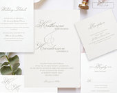 Elegant Wedding Invitation Template, Modern Classic Wedding Invites, Gray Wedding Suite, Classic Elegant Script, INSTANT DOWNLOAD 0795A