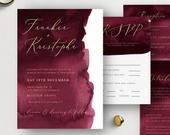 Burgundy Wedding Invitation Set, Printable Merlot Invitation Bundle, Wedding Invite Template, OM033, Instant Download, Elegant, Modern