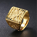 Men's Signet Ring Gold 18K Gold Plated Square Geometric Asian Street chic Hip Hop Daily Evening Party Jewelry Stylish Engraved Eagle family crest Cool