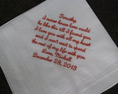 Groom Wedding gift from the Bride, wedding handkerchief embroidered, customize, groom gift, wedding gift for groom, bride gift to husband