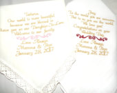 New Daughter Son Wedding Gift From Mom and Dad to the Bride Groom Personalized Custom Embroidered Hankerchief by Canyon Embroidery