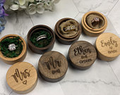 Wedding Ring Box Set of 2 Ceremony Engagement Proposal Personalize Engrave Wood Wooden Rustic Bride Groom Mr Mrs Ring Bearer Favors Gift