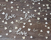 100 pieces love Cursive words and tiny heart mix, Wedding receptions, wedding table decor, wedding confetti, love wood, love wood shape