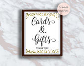 Cards Gifts Sign, Gold confetti Cards and Gifts Wedding Sign, Reception Gift Table Sign, Bridal Shower, Anniversary sign, s3br s3wd s3bd