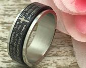 8mm Lords Prayer Spinner Ring, Personalized Stainless Steel Wedding Band, Mens Two Tone Spinner Cross Ring, Stainless Steel Ring,
