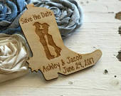 Save the Date Wedding Favor Magnets, Western Wedding Favor, Cowboy Boot, Cowboy and Cowgirl, Bride, Groom, Gift
