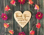 25 Heart Thank You Wedding Favors, 3 Wedding Favor Magnet, Bride, Groom, Gift, Save the Date
