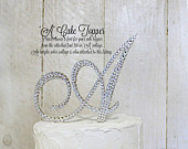 Letter A Wedding Cake Toppers, Bling A Cake Topper, Initial Gold or Silver Monogram Cake Topper, Swarovski Crystal Rhinestones, Personalized