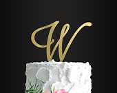 Cake Topper, Letter Cake Topper, Initial, Monogram, Letter W, Personalized Cake Topper, Anniversary Party, Engagement Party, Cake Decorating