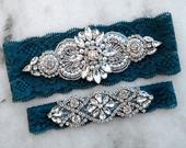Teal Wedding Garters, Stretch Lace Bridal Garter, Silver Crystal Rhinestone Garter, Dark Teal Garter, Blue Green Garter Set, 9 Lace Colors