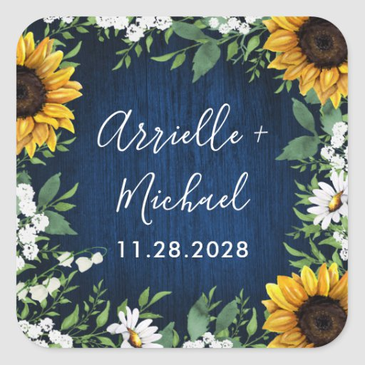 Navy Blue Sunflower Rustic Wedding Favors Stickers