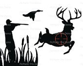 Hunting Silhouette Birthday Edible 2D Fondant Birthday Cake/Cupcake Topper D20629