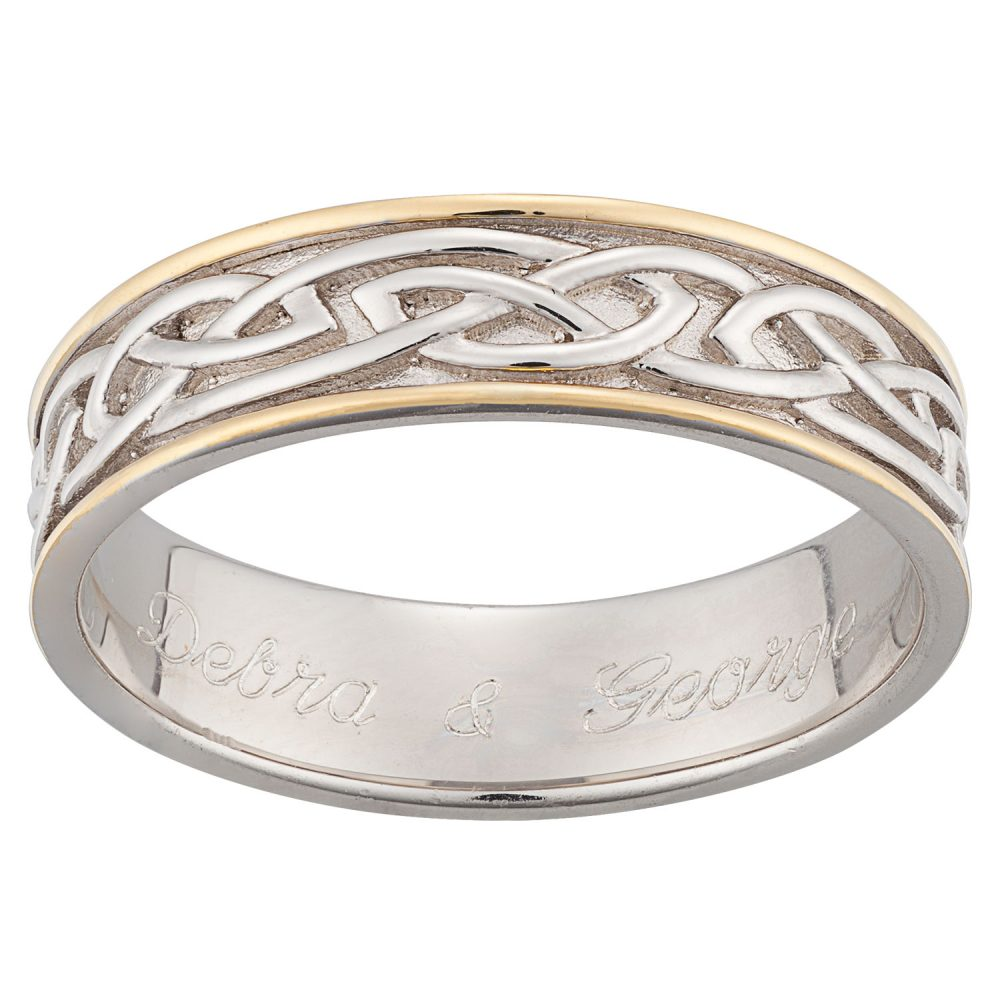 Sterling Silver Two Tone Engraved Celtic Wedding Band