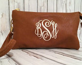 Monogrammed Crossbody Bag, Personalized Clutch Crossbody, Monogrammed Wristlet, Leather Crossbody, Great Gift, Bridesmaid Gift, Quick Ship