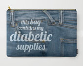 Pouch Diabetic Supply Bag, Sugar Medical CarryAll, Womens wallet, Cosmetic, Makeup, Purse, with Zipper