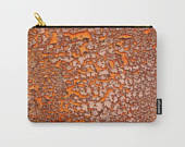 Carry All Pouch with Orange Chipped Paint Texture Print, Cracks Zipper Bag, Makeup Bag, Organizing Bag, Toiletry Bag