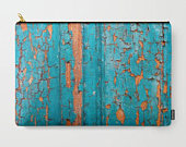 Carry All Pouch with Turquoise Chipped paint Texture Print, Cracks Zipper Bag, Makeup Bag, Organizing Bag, Toiletry Bag