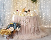 Champagne, Floating ChiffonTulle Tablecloth, Champange Floating Tulle Chiffon Table Skirt, Extra length Floating tulle chiffon table skirt
