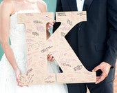 Wedding Guest Book Monogram Letter Sign 22 Large Wooden Letter for Guestbook Alternative ( Item GBW220 )