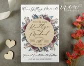 Floral Save the Date Magnet, Wood Save the Date, Burgundy Save the Date, Custom Save the Date, Wreath Save the Date, Modern Save the Date