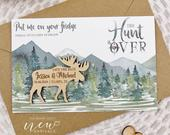Custom Save the Date, Moose Save the Date Magnet, Wood Save the Date Magnet, The Hunt is Over, Deer Save the Date, Mountain Save the Date