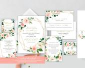 SelfEditing Wedding Invitation Set, Editable Template, Wedding Invitation Suite, Floral Wedding Invitation, INSTANT DOWNLOAD, 01SP