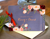Vintage Floral Peony Burgundy and Smoky Blue 3pg Wedding Invitation Booklet // Booklet Wedding Invite