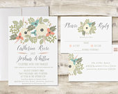 The Lexington Wedding Invitation and Postcard RSVP Set, Floral Wedding Invitations, Garden Wedding Invitations, Spring Wedding Invitations