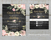 Rustic Gray and Dusty Rose Floral Wedding Invitation,Roses,Floral Arrow,Gray Barn Wood,Calligraphy,Rose Gold,Shimmery,Printed Invitation