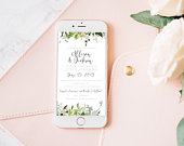 Wedding Digital Electronic Invitation, Garden Rustic Floral, Email Text Invite, Smartphone, iPhone, PDF Instant Download, Digital Template