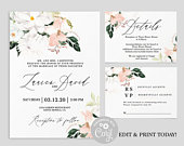 Magnolia wedding invitation suite, blush magnolia flower editable invitation, instant download boho wedding invite