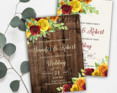 Autumn Fall Red Yellow Orange Floral Wedding Invitation Suite, Autumn Fall Theme Invitation, Red Yellow Orange Floral Wedding Invite WS061