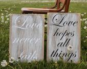 Large Set of 10 Rustic Wedding Aisle Sign/Wood Wedding Sign/Love is Patient Sign/1 Corinthians 13:48/Wedding Sign/Love is Patient/Isle Sign