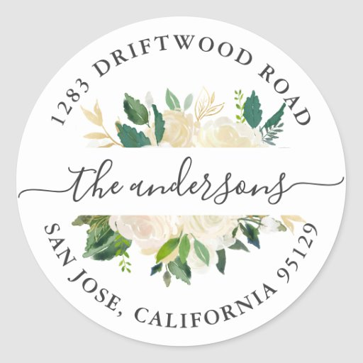 Greenery Gold Floral Return Address Envelope Seal