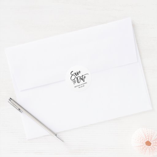Brush Script Save The Date Envelope Seals