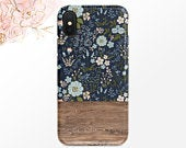 Blue and Pink Floral Pattern Phone Case Navy iPhone Case Wood Grain Samsung Case iPhone X Case iPhone XS iPhone XR Case iPhone XS Max Case