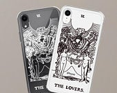 The Lovers Tarot Card Clear Phone Case iPhone 11 Pro iPhone 6S iPhone 7 8 iPhone X iPhone XR iPhone XS Max Samsung Galaxy S9 S10 Cover