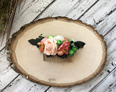 Peach rose flower comb Coral floral hair piece Bridal hair comb Boho wedding headpiece Woodland flower comb Photoshoot hair piece Gold comb